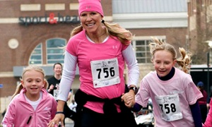 Two Girls and Woman Compete in Brambleton Ribbon Run