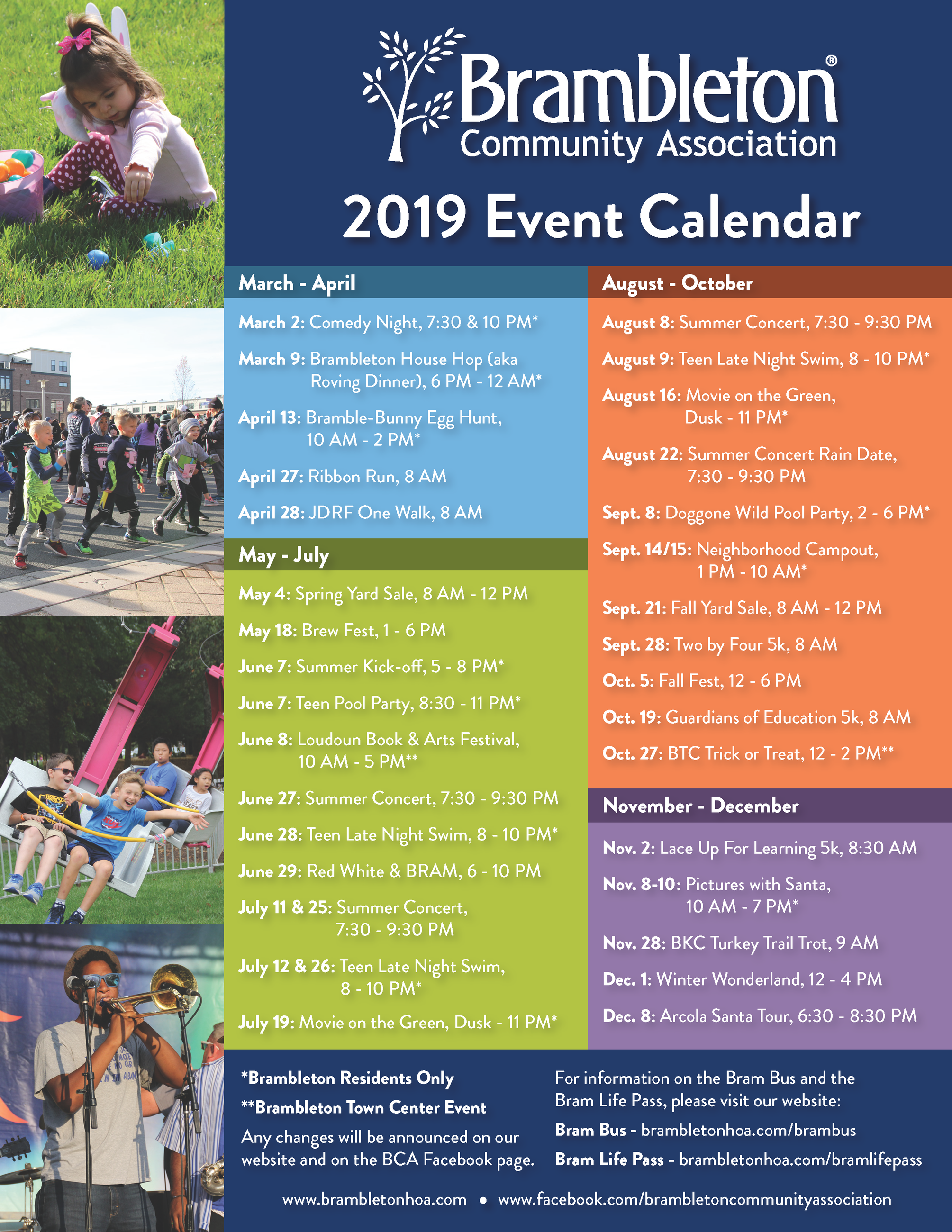 2019 BCA Calendar of Events